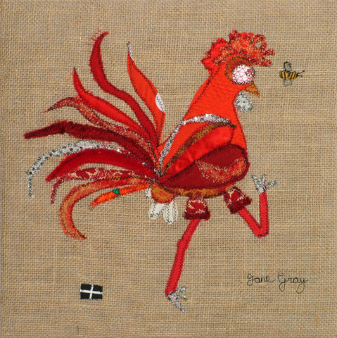 "Greetings Card (005) by Lady Jane Gray - Humorous Red Chicken ""Claire"" on hessian background"