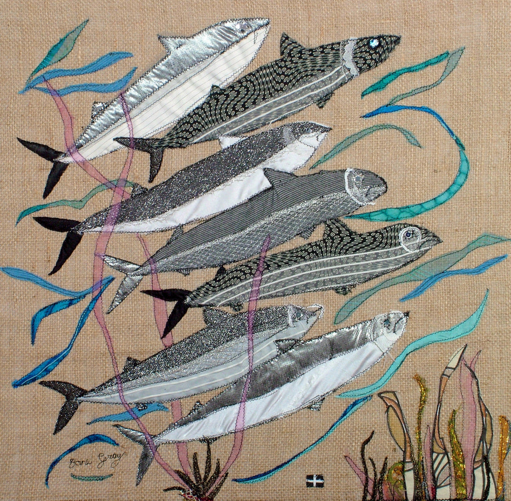 "Original Textile Art on Hessian by Lady Jane Gray -  ""Save Our Seas"""
