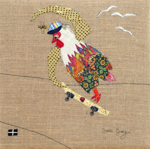 "Original Chicken Art on Hessian by Lady Jane Gray - Humorous Chickens ""Skater Sam"""