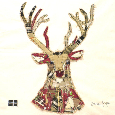 "Original Textile Art on Calico by Lady Jane Gray - ""The Stag"""