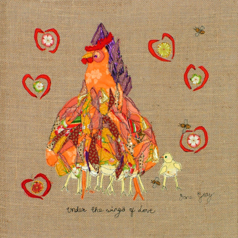 "Original Chicken Art on Hessian by Lady Jane Gray - Humorous Chickens ""Under the wings of LOVE"" - SOLD"