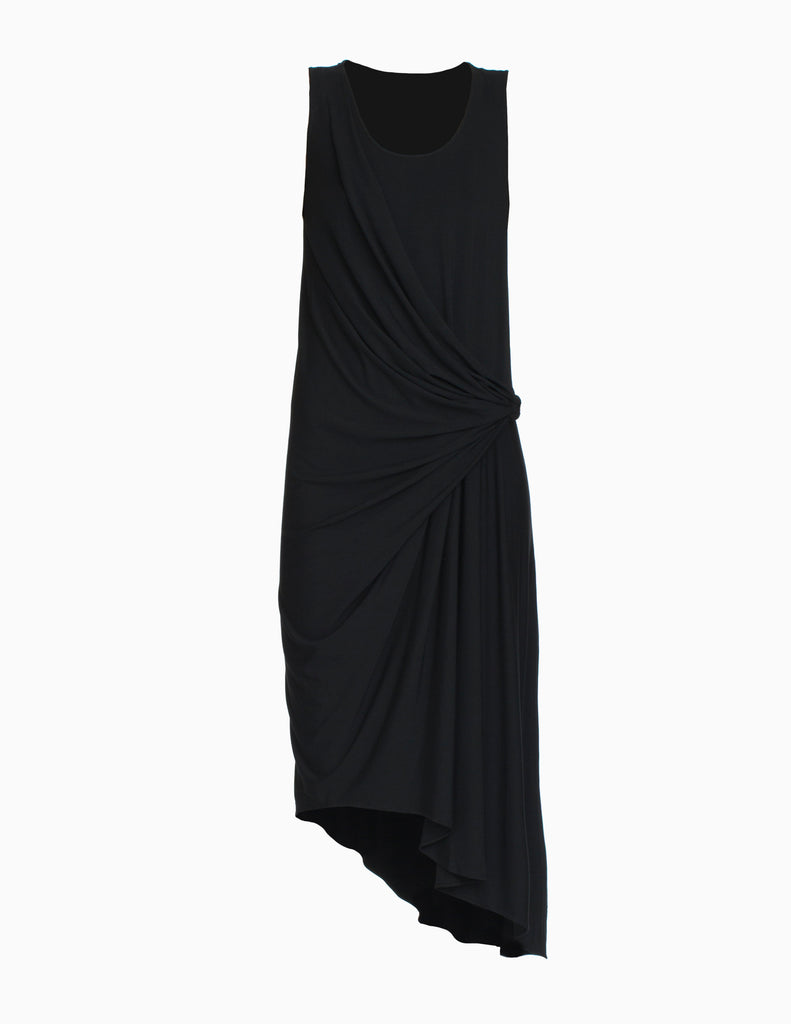 ASYMMETRICAL DRAPE JERSEY DRESS
