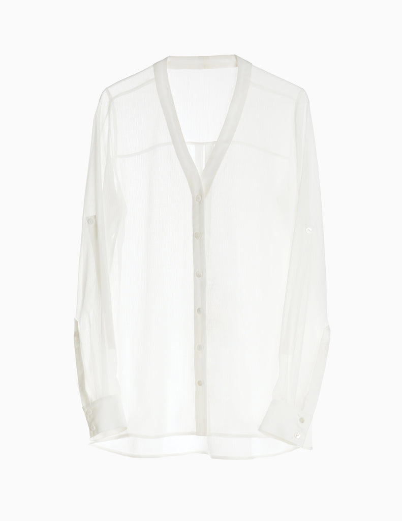 SHEER COLLARLESS BUTTONDOWN