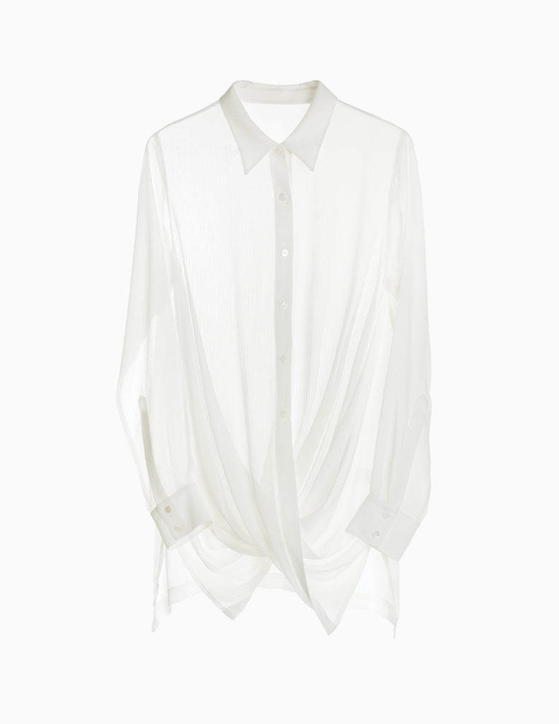 SHEER BUTTONDOWN TWIST SHIRT