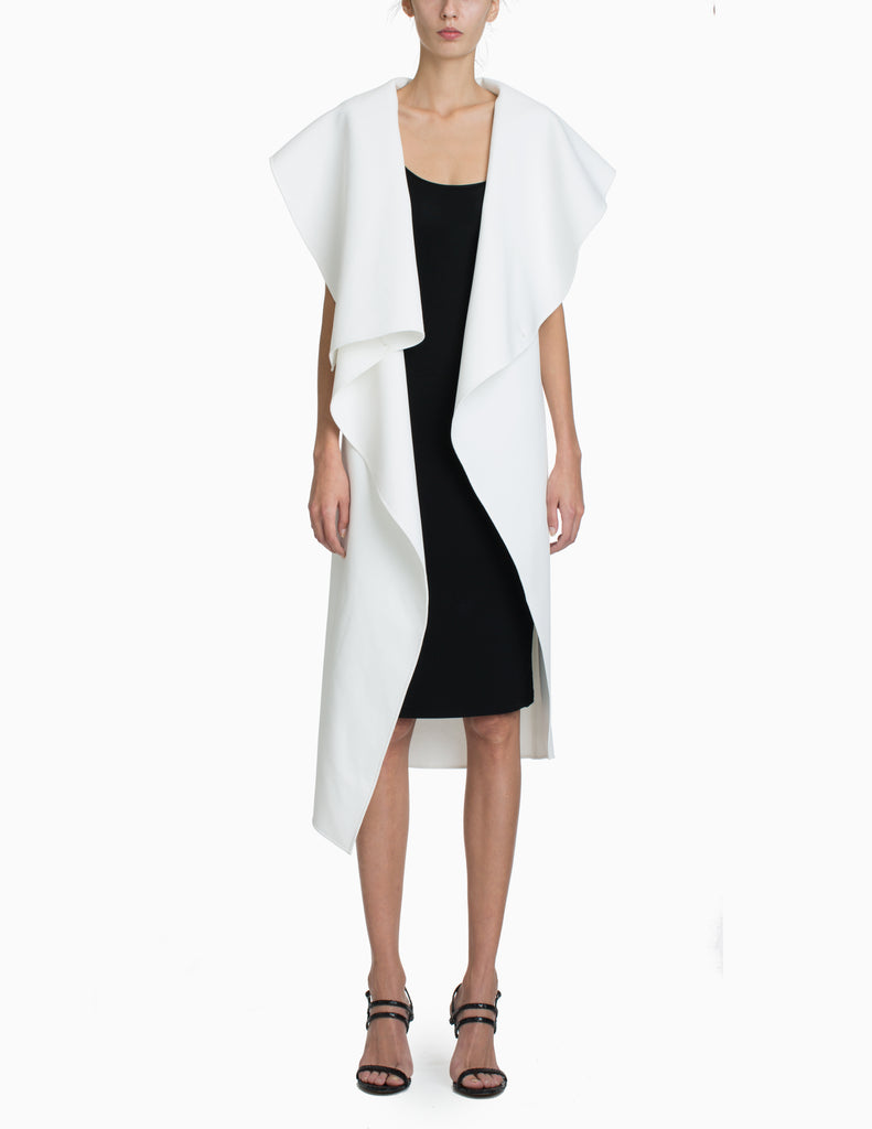 BASKETWEAVE ASYMMETRICAL OVERSIZED COLLAR LONG VEST
