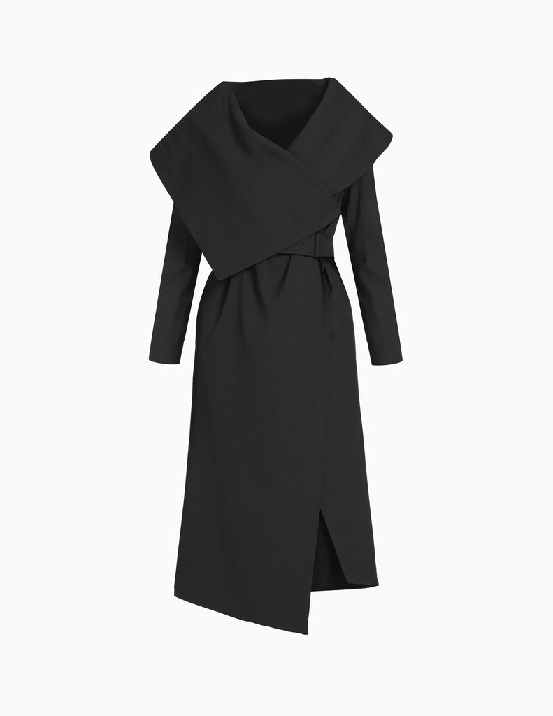 BASKETWEAVE OVERSIZED COLLAR COAT