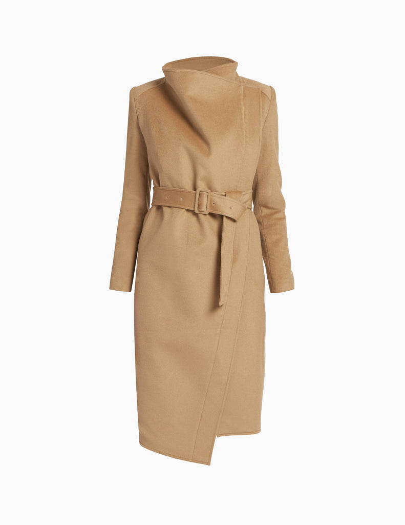CASHMERE ASYMMETRICAL BELTED COAT