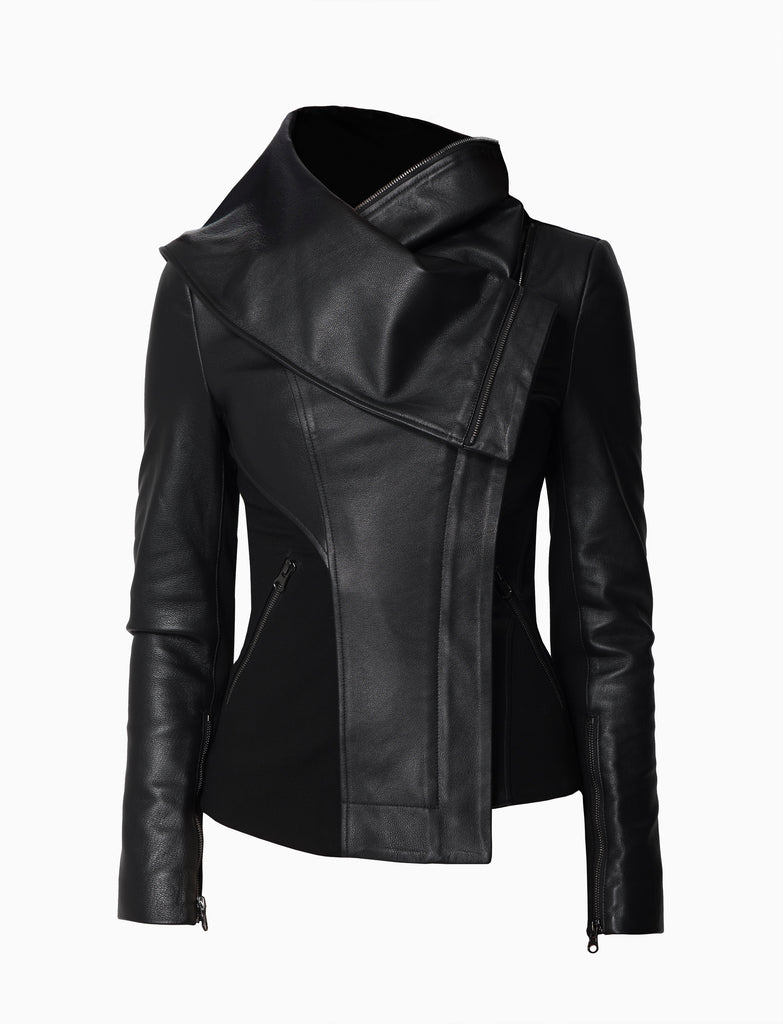 Leather Panelled Oversized Lapel Jacket