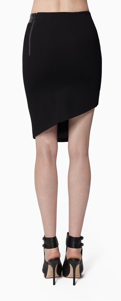 Criss cross leather skirt