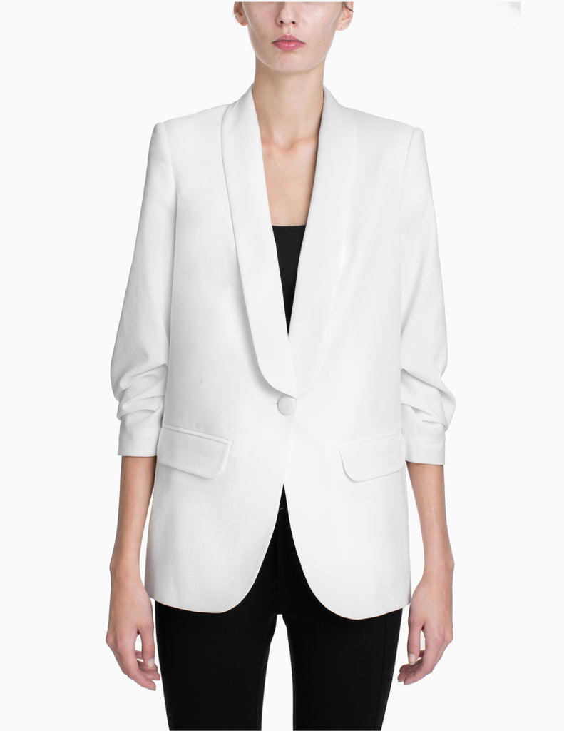 CINCHED SLEEVE TAILORED JACKET
