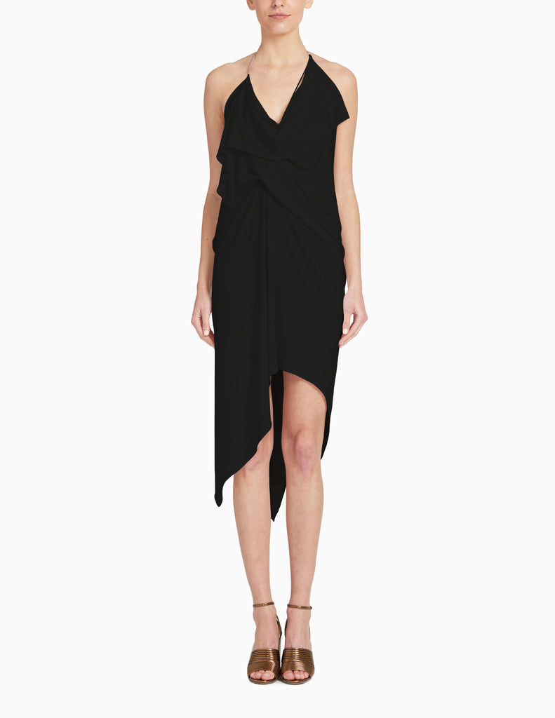 LONG HALTER TIE DRAPE DRESS