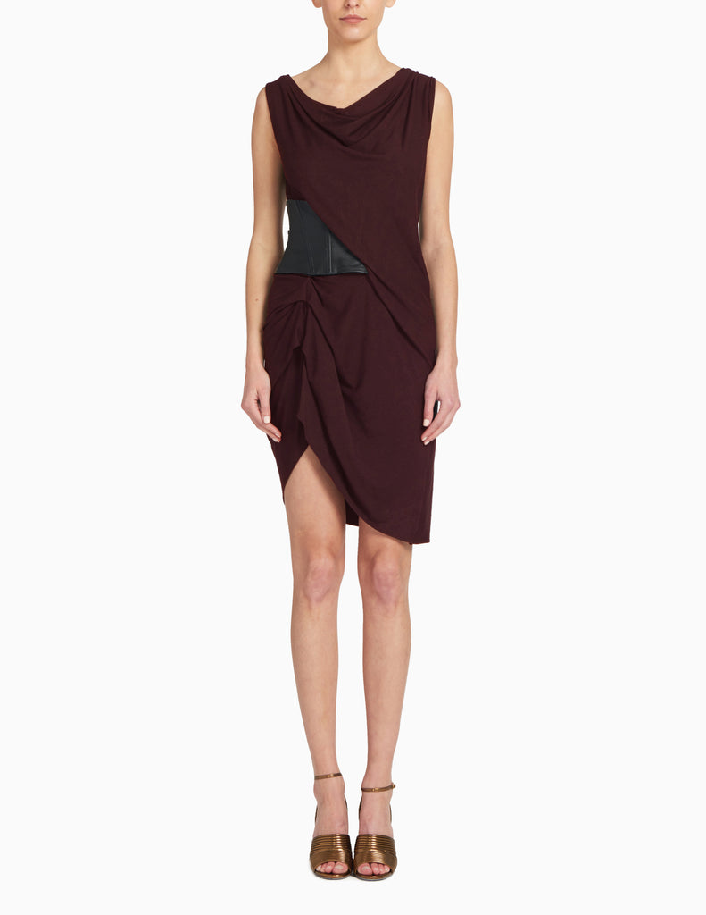 JERSEY ASYMMETRICAL LEATHER BELTED DRESS