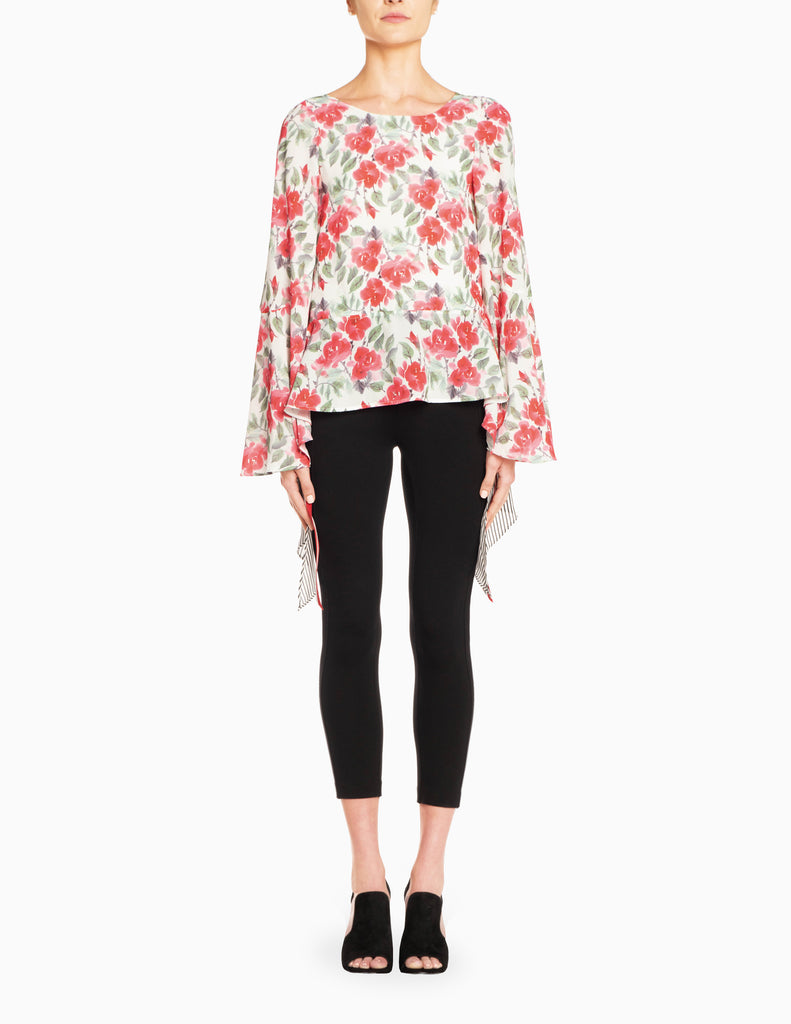 Floral Stripe Hi-Lo L/S Tier Top