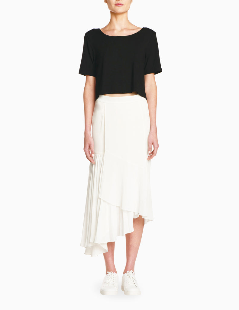 Ruffle Multi-Tiered Midi Skirt
