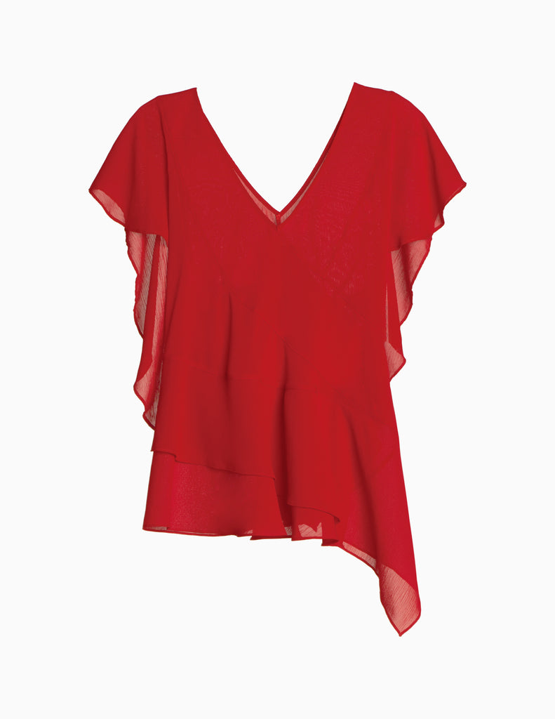 V-Neck Crossover Ruffle Back Top