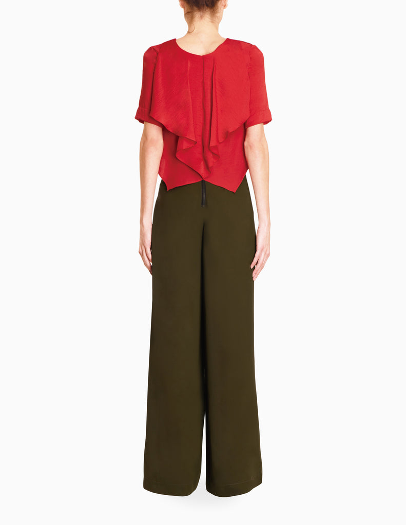 Ribbon Waist Wide Leg Trousers