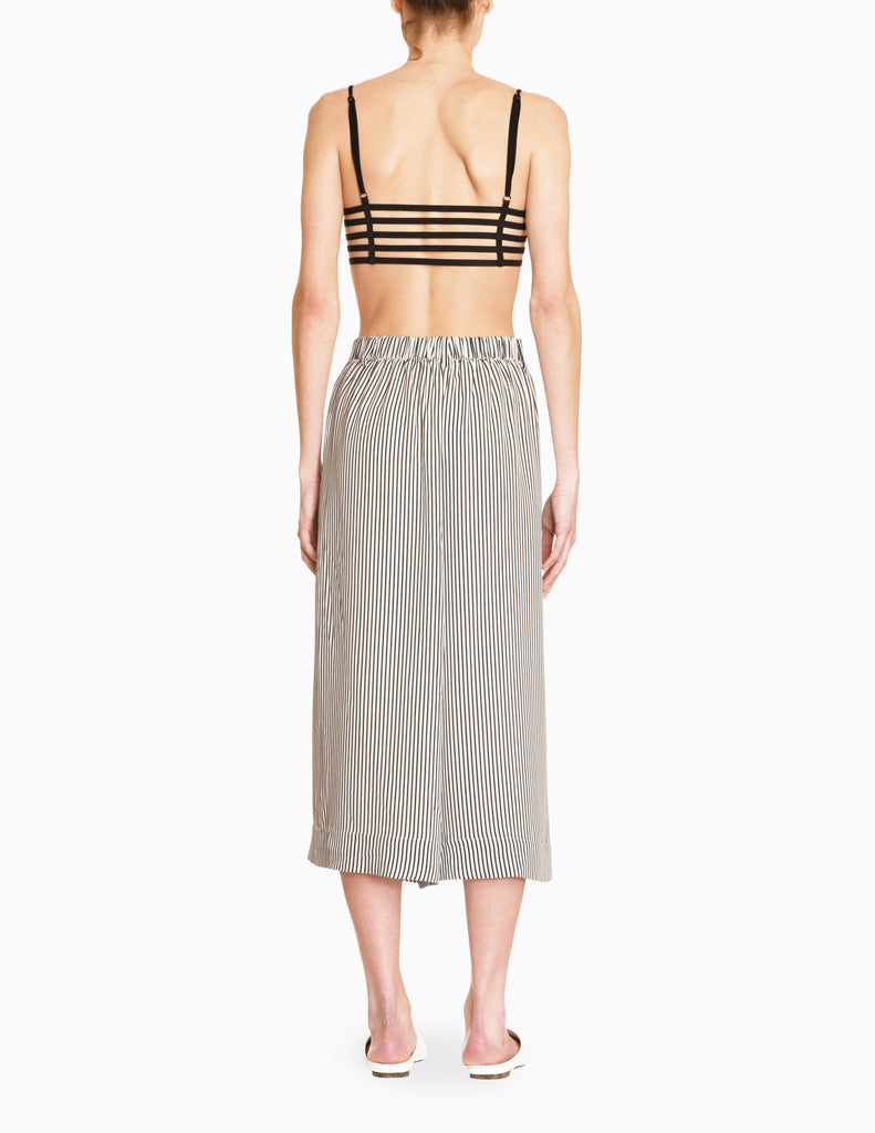 Striped Elastic Wide Culottes