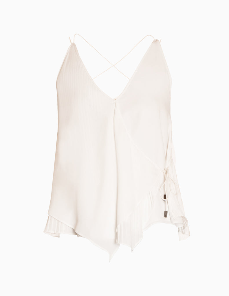 Wrap Sleeveless Pleated Layer Top