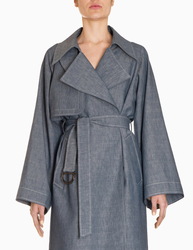 Chambray Wide Sleeve Trench