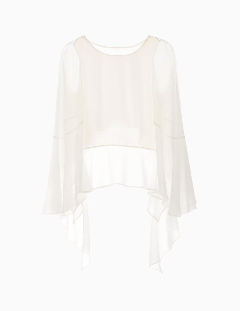 Sheer Hi-Lo Long Sleeve Tier Top