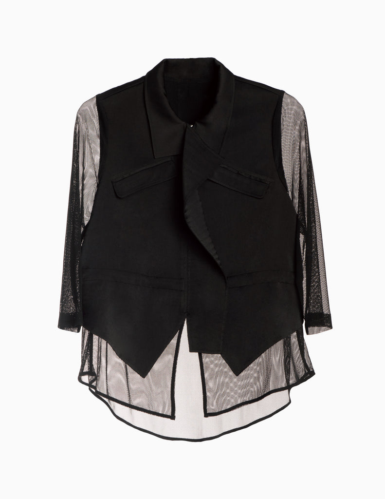 Mesh Detail Drawstring Jacket