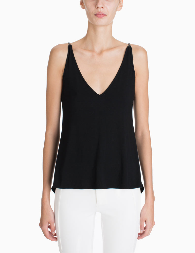 V-NECK CHAIN DRAPE BACK TOP