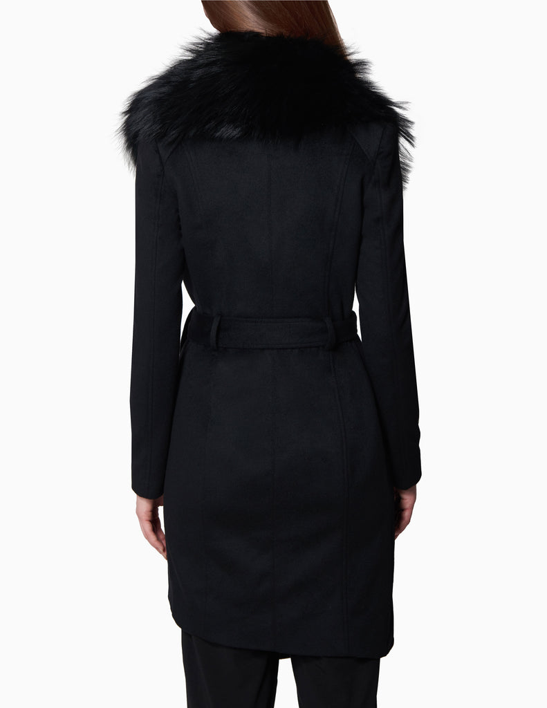 Asymmetrical Removable Fur Collared Coat