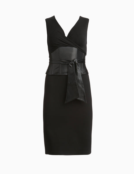 Leather Belted Pencil Dress