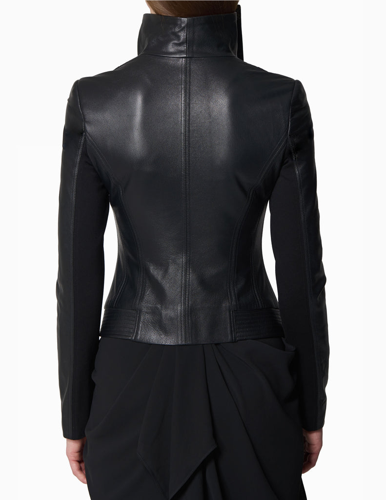 Leather Funnel Collared Jacket