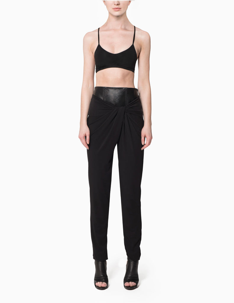 Leather Corseted Drape Twist Pants