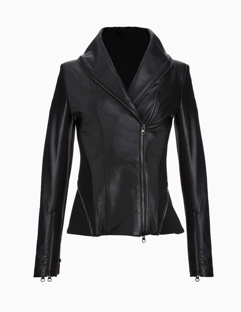 Leather Exposed Zip Jacket
