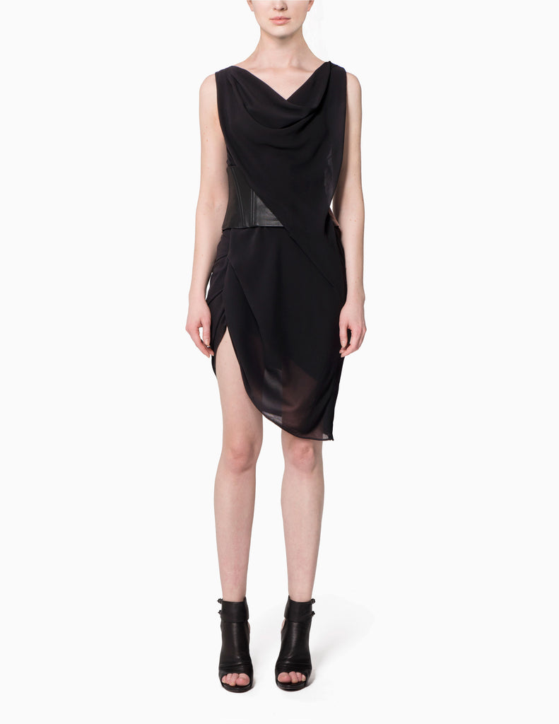 Asymmetrical Leather Belted Dress