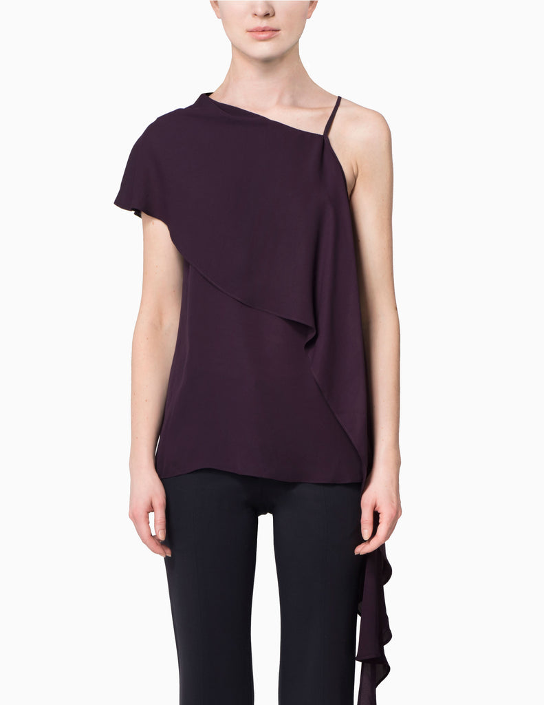 Cold Shoulder Asymmetrical Drape Top