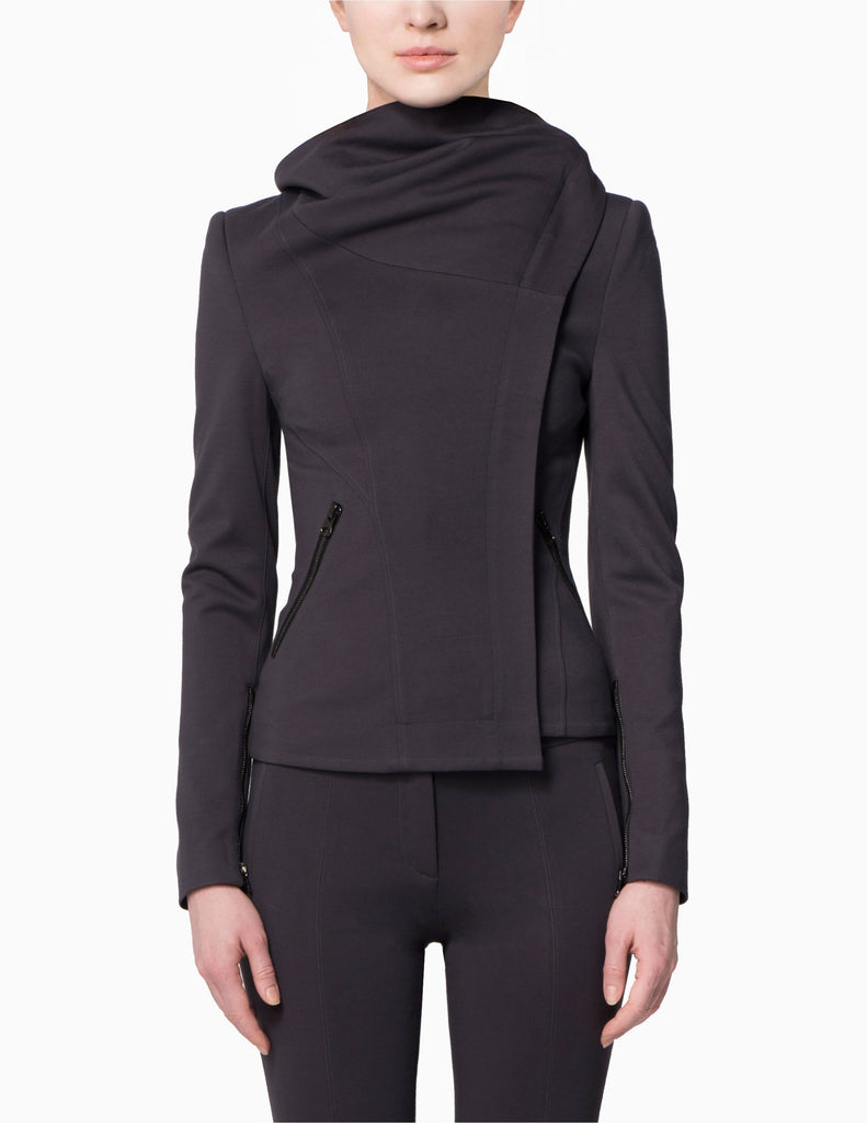 Asymmetrical Collar Stretch Lapel Jacket