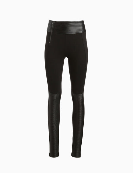 Leather Piped Panelled Moto Pants