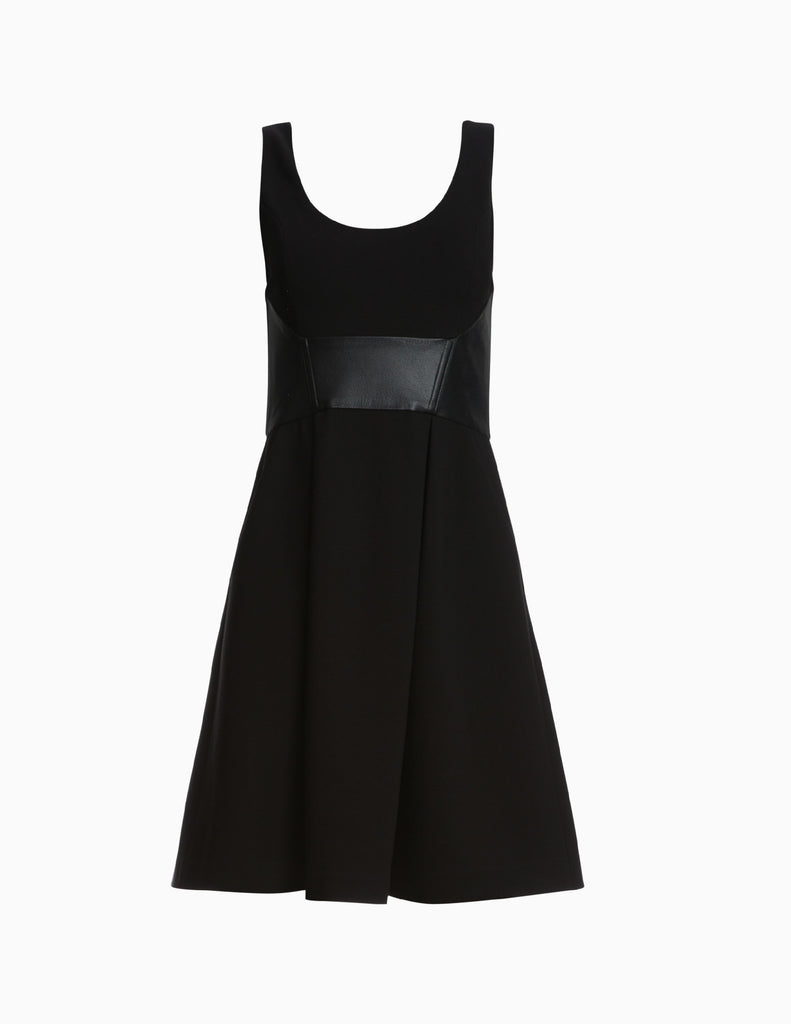 Contrast leather panel A line dress
