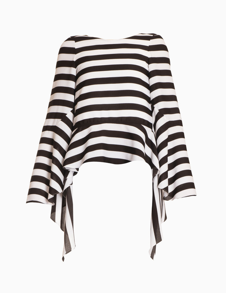 Wide Stripe Hi-Lo L/S Tier Top