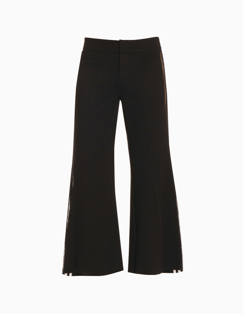 Side Stripe Mesh Wide Leg Crop Pants
