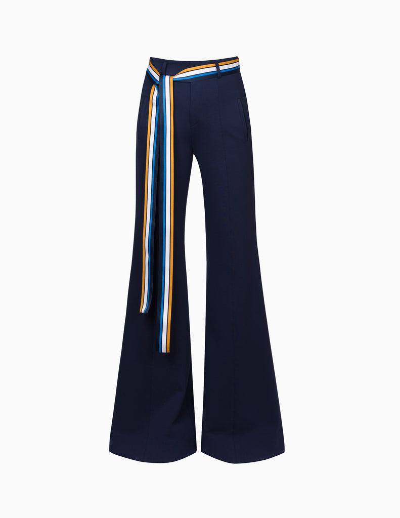 High Waisted Pants W/ Ribbon Belt