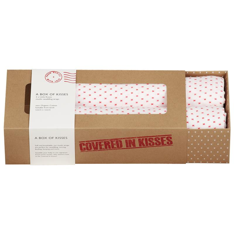 A Box of Kisses - Certified organic cotton muslin 2 pack - gift box