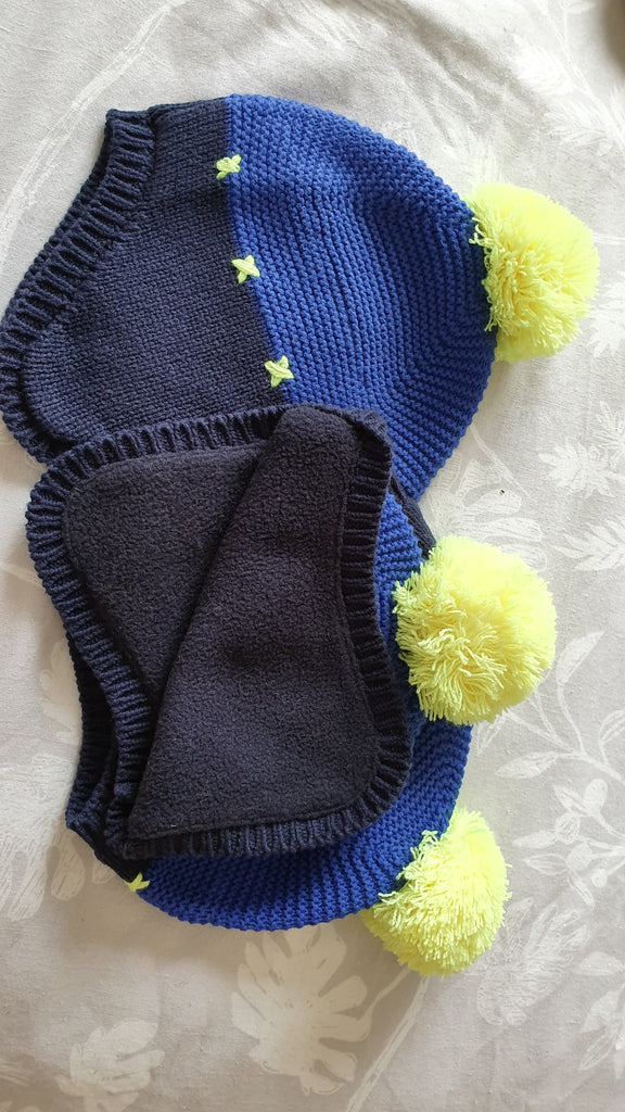 Billybandit - lined 'trapper' hat & scarf set. Navy/Royal/Yellow size T1
