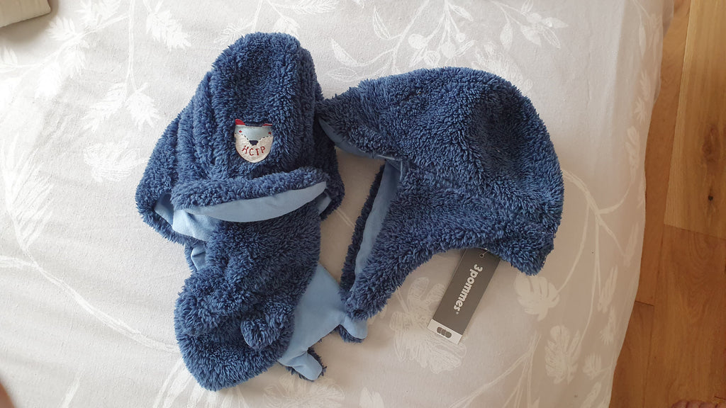 3 Pommes - 'Little Fox' fleece trapper hat & scarf set - Indigo blue