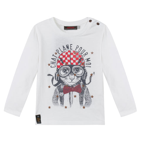 Boys White Long Sleeved T-Shirt With Aviator Cat Print
