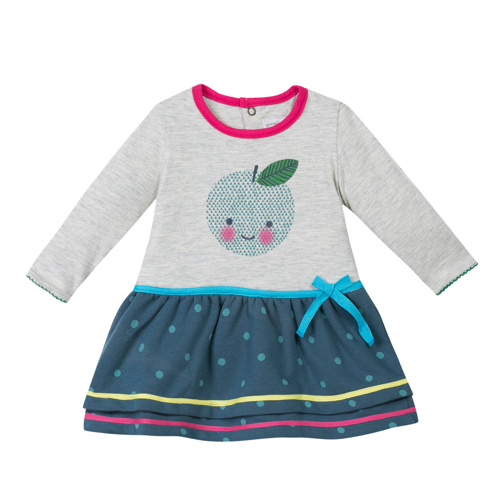 Baby And Toddler Long Sleeved Dress With Apple Print