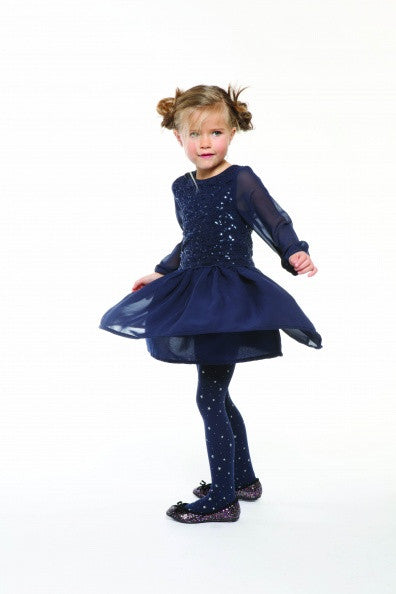 3 Pommes - Navy Blue Long Sleeved Party Dress