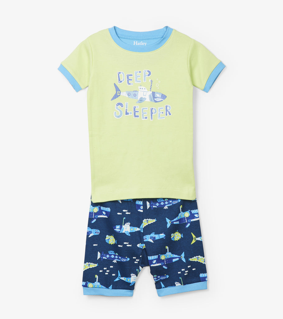 Organic Submarine Print Short Pyjamas With Glow In The Dark Details