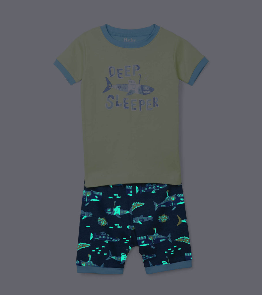 Hatley - Organic Submarine Print Short PJ's Glow In The Dark Details,7y