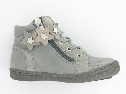Girls Grey Leather Hi-Top Style Boot
