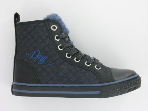 Girls High-Top Trainer In Navy & Black Sparkle