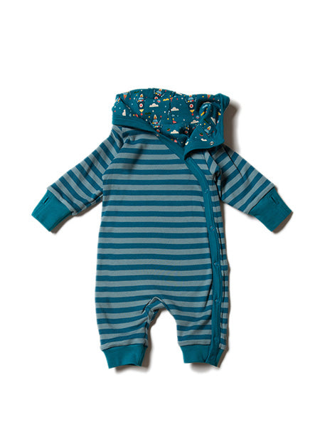 'Night Sky Rockets',  reversible, hooded babygrow to keep baby snug as a bug!